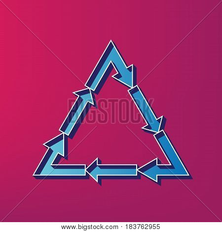 Plastic recycling symbol PVC 3 , Plastic recycling code PVC 3. Vector. Blue 3d printed icon on magenta background.