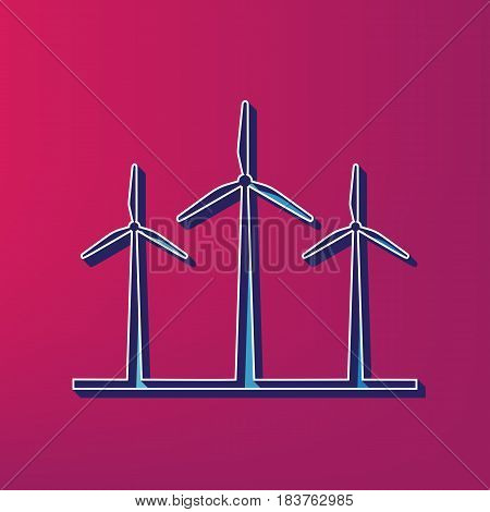 Wind turbines sign. Vector. Blue 3d printed icon on magenta background.