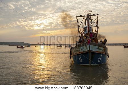 PRACHUAP KHIRI KHAN THAILAND - MARCH 29 : thai fishery boat approaching to klong wan port early moring on march 29 2017 in prachuap khiri khan southern of thailand