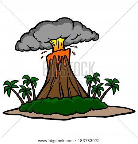 A vector illustration of cartoon Volcano Island.