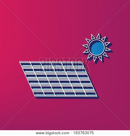 Solar energy panel. Eco trend concept sign. Vector. Blue 3d printed icon on magenta background.
