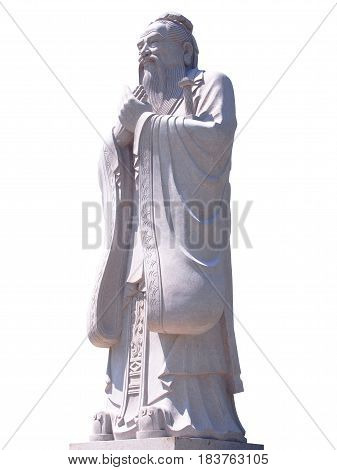 Photo of Confucius statue isolated on white background