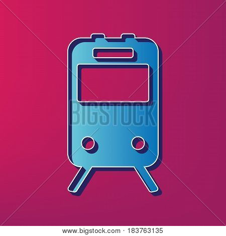Train sign. Vector. Blue 3d printed icon on magenta background.