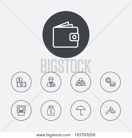 Set Of 9 Finance Outline Icons Set.Collection Of Golden Bars, Auction, Wallet And Other Elements.