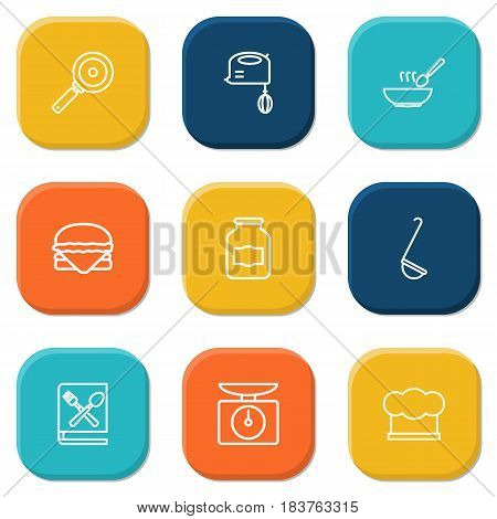 Set Of 9 Cooking Outline Icons Set.Collection Of Soup, Jug, Ladle And Other Elements.
