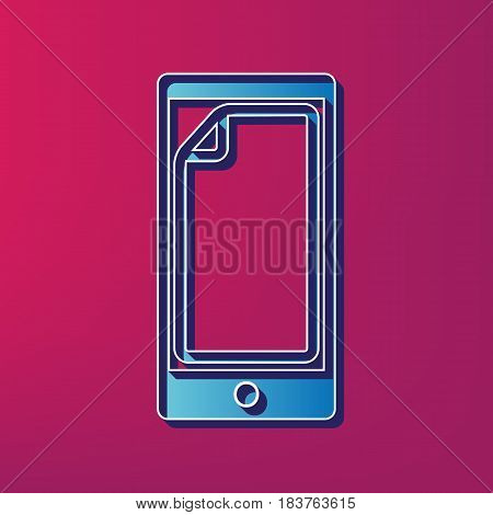 Protective sticker on the screen. Vector. Blue 3d printed icon on magenta background.