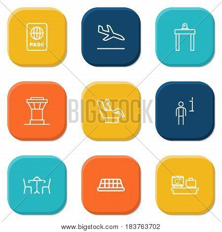 Set Of 9 Aircraft Outline Icons Set.Collection Of Control Tower, Cafe, Business Class And Other Elements.