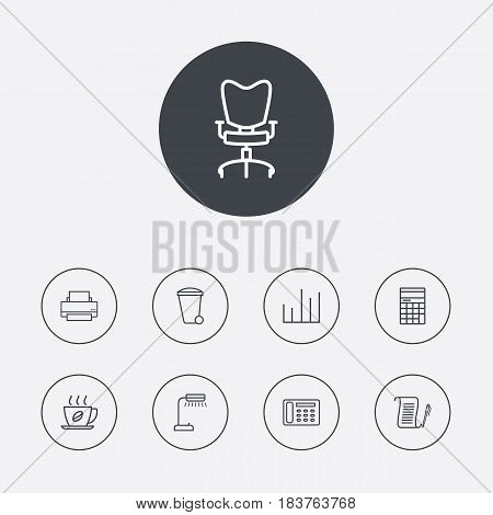Set Of 9 Work Outline Icons Set.Collection Of Contacts, Reading-Lamp, Chart And Other Elements.