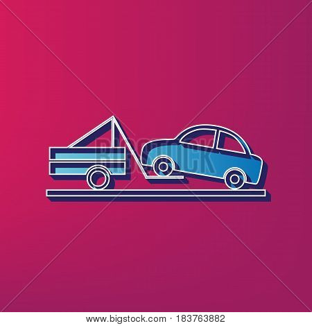 Tow truck sign. Vector. Blue 3d printed icon on magenta background.
