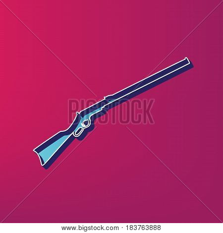 Hunting rifle icon vector illustration. Silhouette gun. Vector. Blue 3d printed icon on magenta background.