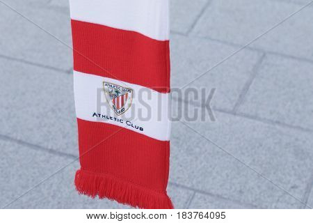 BILBAO SPAIN - APRIL 28 2017: Athletic Club soccer team emblem embroidered on a scarf. Outdoors on the street.