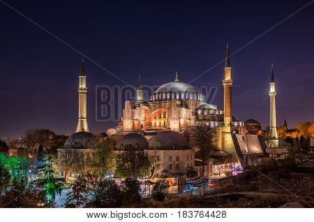 Hagia Sofia backlighted shot at blue hour, Istanbul, Turkey.