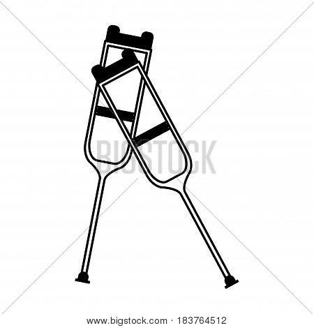 crutches healthcare icon image vector illustration design