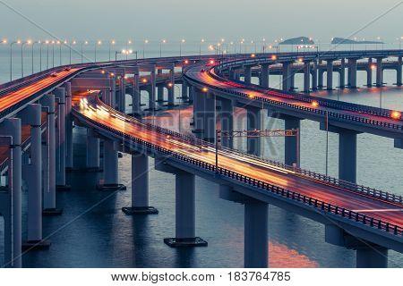 Dalian Cross-Sea Bridge at dusklandmark of DalianChina.