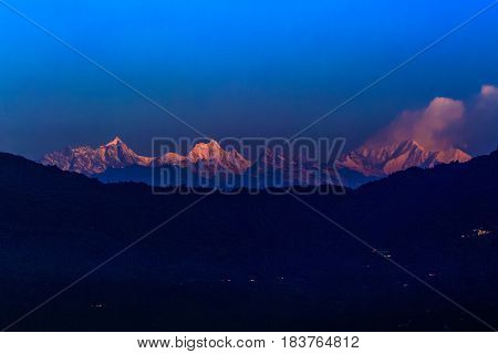 Scenic View Of Kanchenjunga Is The Third Highest Mountain In The World, Himalayas, Sikkim.india