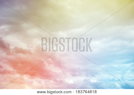 Soft cloud background with a pastel colors. Colourful majestic heaven.