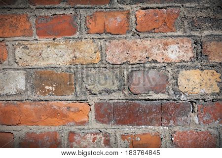 Ancient brick wall. Simple brick wall background or texture.