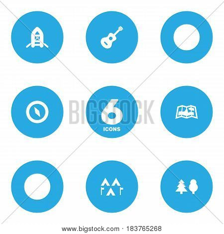 Set Of 6 Picnic Icons Set.Collection Of Tree, Map, Acoustic And Other Elements.