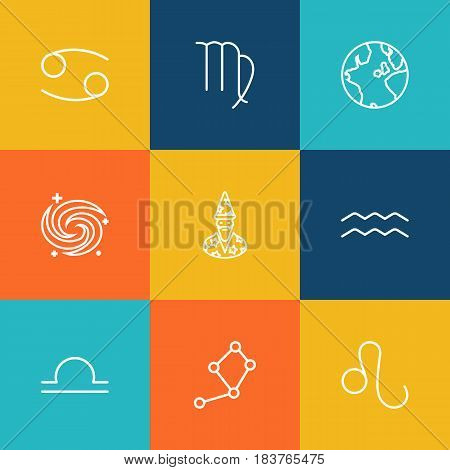 Set Of 9 Galaxy Outline Icons Set.Collection Of Cancer, Libra, Leo And Other Elements.