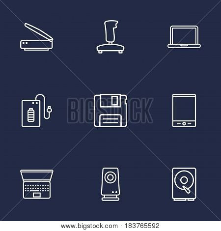 Set Of 9 Computer Outline Icons Set.Collection Of Scanner, Speaker, Powerbank And Other Elements.