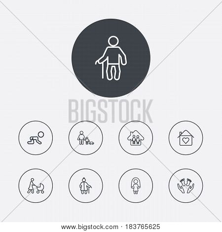 Set Of 9 Family Outline Icons Set.Collection Of Grangmother, Skipping Rope, Stroller And Other Elements.
