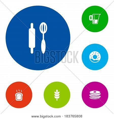 Set Of 6 Bakery Icons Set.Collection Of Whisk, Slice Bread, Measurement And Other Elements.