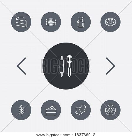 Set Of 9 Oven Outline Icons Set.Collection Of Wheat, Cheesecake, Donuts And Other Elements.