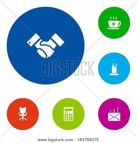 Set Of 6 Bureau Icons Set.Collection Of Calculator, Coffee, Handshake Elements.