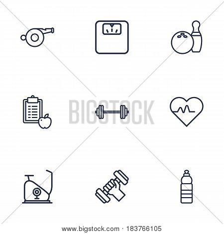 Set Of 9 Training Outline Icons Set.Collection Of Workout, Diet, Scales And Other Elements.