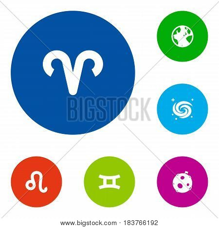 Set Of 6 Horoscope Icons Set.Collection Of Earth Planet, Ram, Space And Other Elements.