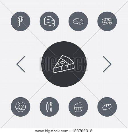 Set Of 9  Outline Icons Set.Collection Of Candy Cane, Rolling Pin, Donuts Elements.