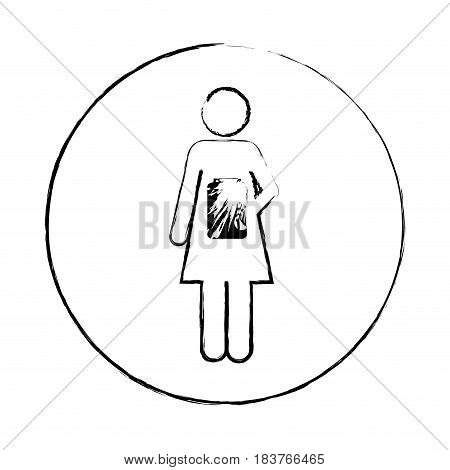 blurred circular frame silhouette pictogram female with remedy bottle vector illustration