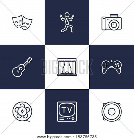 Set Of 9 Amusement Outline Icons Set.Collection Of Dancing Man, Photo Camera, Speaker And Other Elements.