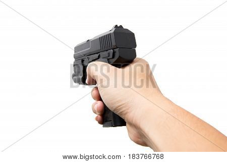 Hand Hold Gun Or Pistol Firearm Automatic Handgun  From Side Isolated On White. Shooting Posture.