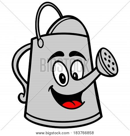A vector illustration of a cartoon watering can.
