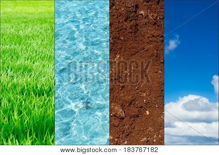 Ecology Of Nature Banner Concept. Green Plant Blue Water Fertile Soil And Clean Air Ozone