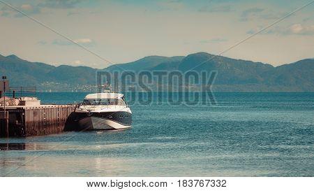 Beautiful Landscape Of Blue Water And Marina