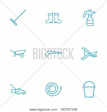 Set Of 9 Horticulture Outline Icons Set.Collection Of Harrow, Grass-Cutter, Pail And Other Elements.