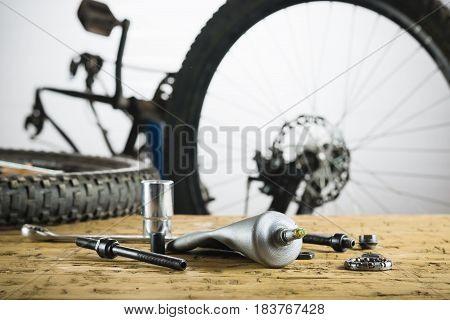 Spare parts for the repair sleeve rear wheel mountain bike. The concept of Bicycle repair.