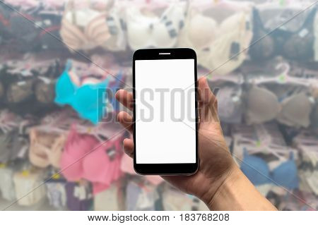 Blurred photo Blurry image  Lingerie department background