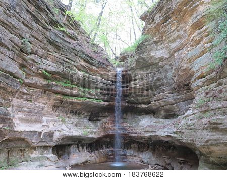 Waterfall at St. Louis Canyon at Starved Rock State Park in spring