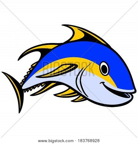 A vector illustration of a Yellow-fin Tuna swimming.