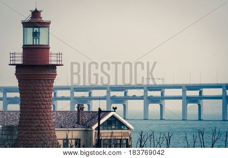 Lighthouse At seaside in Qingdao city,China .