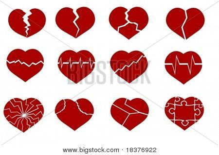 vector set various broken hearts