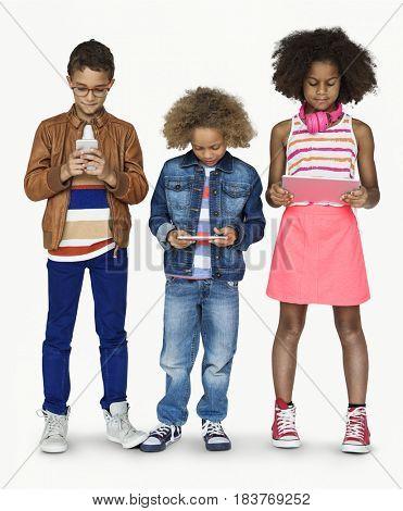 Diverse Kids Digital Device Concept