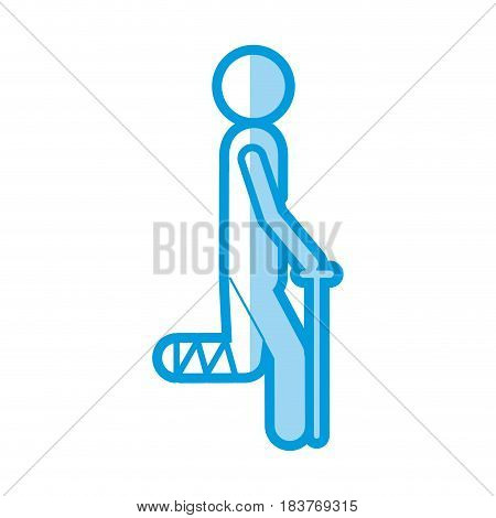 blue shading silhouette pictogram bandaged leg patient icon flat vector illustration