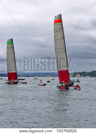 Mono-hull yachts built for the America's Cup sailing on the Waitemata Harbour, Auckland , New Zealand