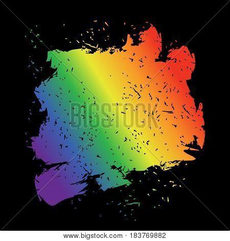 Iridescent brush stroke. LGBT flag grunge style spot.