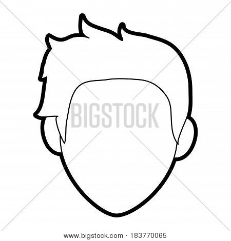 faceless man with scruffy hair icon image vector illustration design  black line