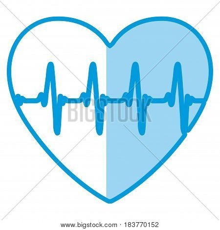 blue shading silhouette of heart with signs of life vector illustration